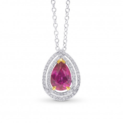 Natural Unheated Ruby and Diamond Double Halo Pendant, SKU 56481 (2.59Ct TW)