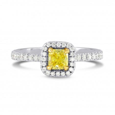 Fancy Intense Yellow Radiant Diamond Halo Ring, SKU 59238 (0.86Ct TW)