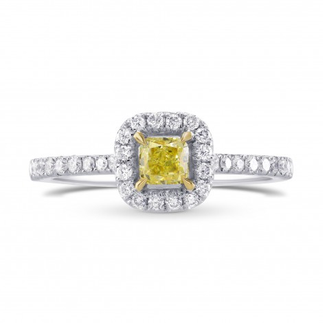 Fancy Intense Yellow Radiant Diamond Halo Ring, SKU 59723 (0.68Ct TW)