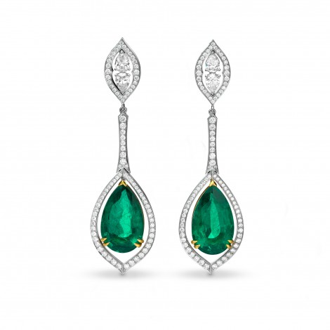 Extraordinary Green Emerald Pear & Diamond Drop Earrings, SKU 63811 (30.47Ct TW)