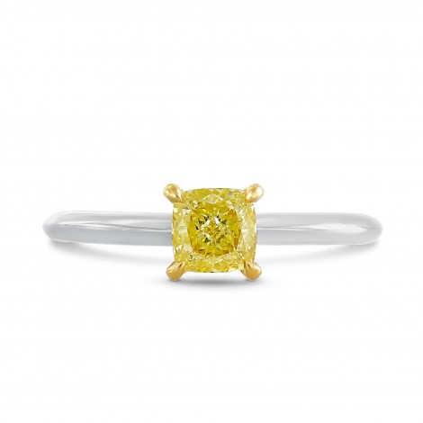 Fancy Yellow Cushion Solitaire Diamond Engagement Ring, SKU 65368 (0.60Ct)