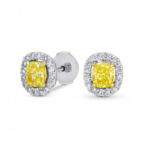 Fancy Intense Yellow Cushion Diamond Halo Earrings, SKU 70379 (1.31Ct TW)