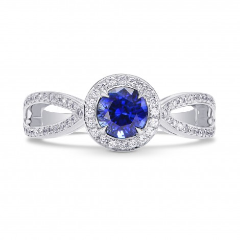 Round Sapphire & Diamond Engagement Ring, SKU 71654 (1.34Ct TW)
