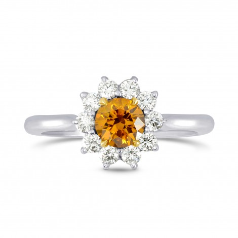 Fancy Deep Brownish Yellowish Orange Round Brilliant Diamond Halo Ring, SKU 71655 (0.87Ct TW)