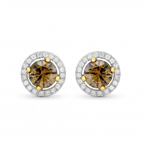 Fancy Brown Round Diamond Floating Halo Earrings, ARTIKELNUMMER 74927 (1,73 Karat TW)