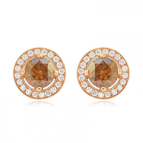Fancy Brown Round Diamond Floating Halo Earrings, SKU 75644 (1.55Ct TW)