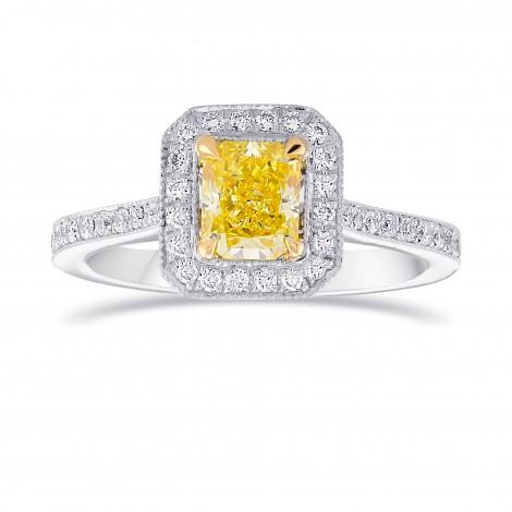 Fancy Intense Yellow Diamond Milgrain Halo Ring, SKU 77658 (1.18Ct TW)
