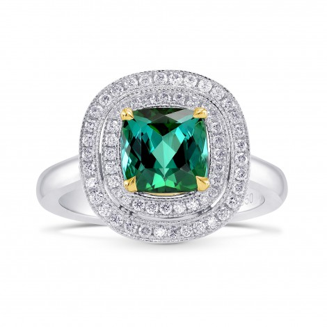 Green Tourmaline Diamond Double Halo Ring, SKU 77659 (2.05Ct TW)