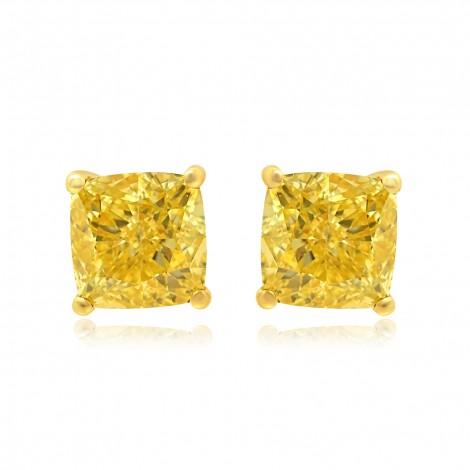 Fancy Intense Yellow Cushion Diamond Earrings, SKU 77662 (1.46Ct TW)