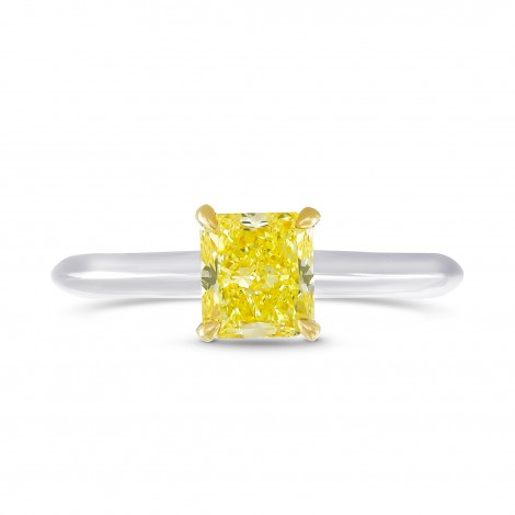 Fancy Intense Yellow Radiant diamond solitaire ring, SKU 79938 (1.01Ct)