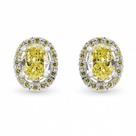 Fancy Yellow Oval Shaped Diamond Halo Earrings, SKU 81877 (1.31Ct TW)