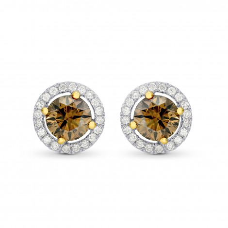 Fancy Brown Round Brilliant Diamond Halo Earrings, SKU 82359 (1.47Ct TW)