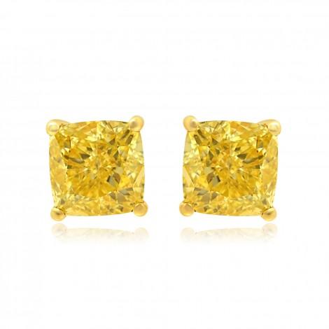 Fancy Intense Yellow Cushion Diamond Earrings, SKU 84071 (1.29Ct TW)