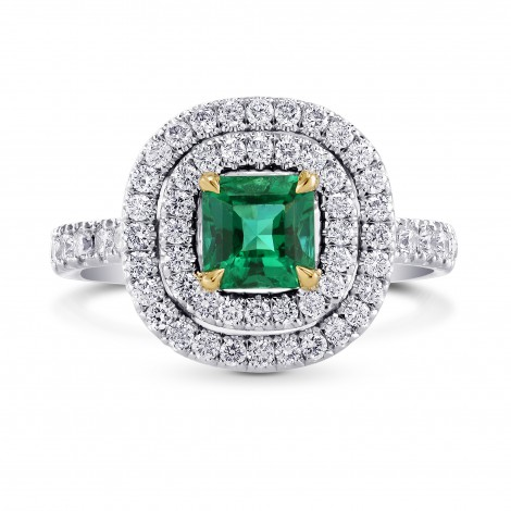 Green Emerald  Radiant & Diamond Double Halo Ring, SKU 84272 (1.39Ct TW)