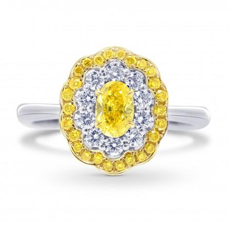 Fancy Vivid Yellow Oval Diamond Ring, SKU 87573 (0.83Ct TW)