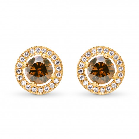 Fancy Deep Orangey Brown & Fancy Deep Orange Round Diamond Halo Earrings, SKU 88498 (0.76Ct TW)