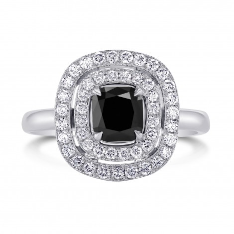 Fancy Black Diamond Double Halo Ring (1.54Ct TW)