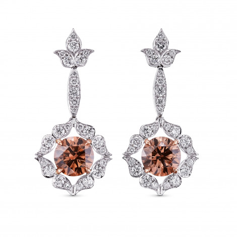 18K White and Rose Gold Fancy Brown Drop Halo Earrings, SKU 90224 (3.74Ct TW)