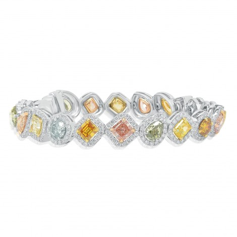 All Natural GIA Certified Multicolored Diamond Bracelet, SKU 98930 (13.58Ct TW)