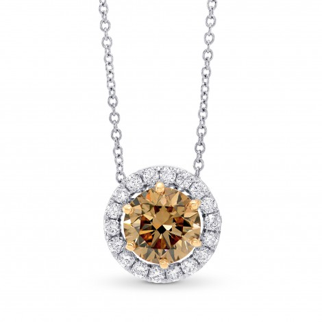 Fancy Dark Yellowish Brown Diamond Halo Pendant, SKU 99712 (1.20Ct TW)