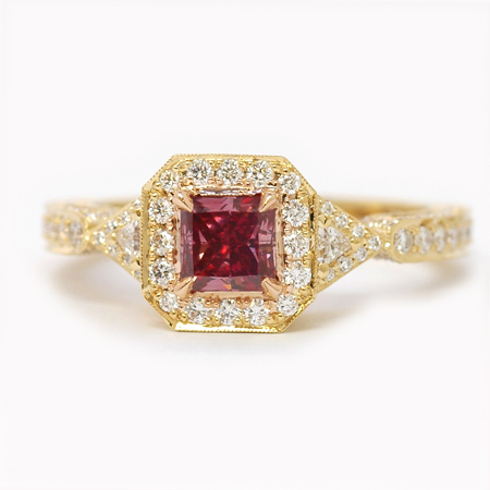 Fancy Purplish Red Argyle Side Stone Diamond Ring, SKU c5042 (0.52Ct TW)