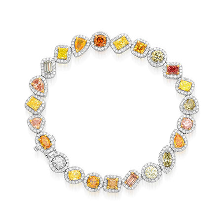 Multicolored and Mixed Shape Couture Halo Diamond Bracelet, SKU 73961 (9.96Ct TW)