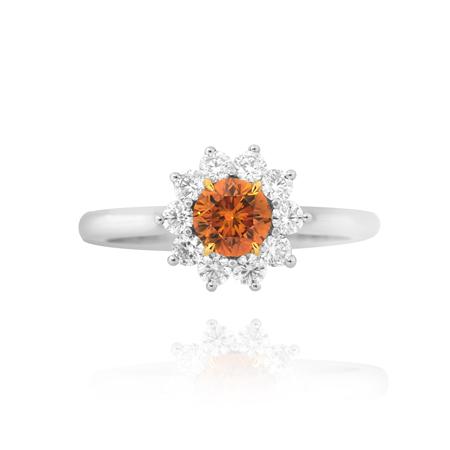 Fancy Deep Yellowish Orange Round Brilliant Diamond Ring, SKU 57436 (0.91Ct TW)