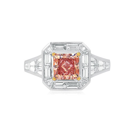 Argyle Fancy Intense Pink and Trapezoid Diamond Engagement Ring