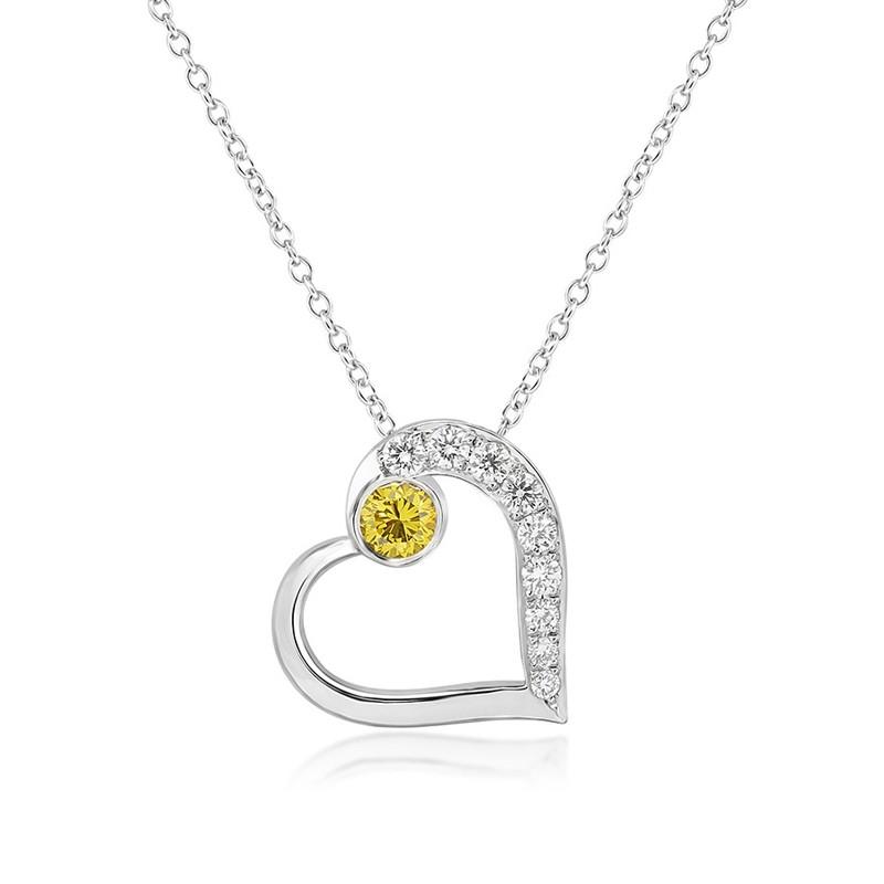 Fancy Vivid Yellow and White Pave Diamond Heart Pendant, ARTIKELNUMMER 101365 (0,22 Karat TW)