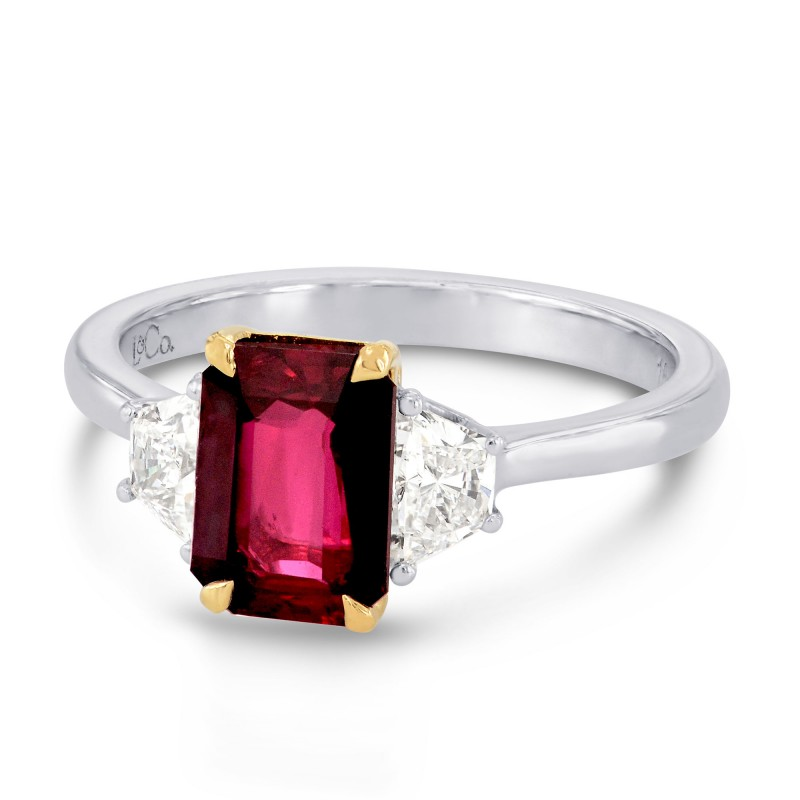 Unheated Ruby Radiant Cut and Trapezoid Diamond Ring, SKU 101835 (2.30Ct TW)