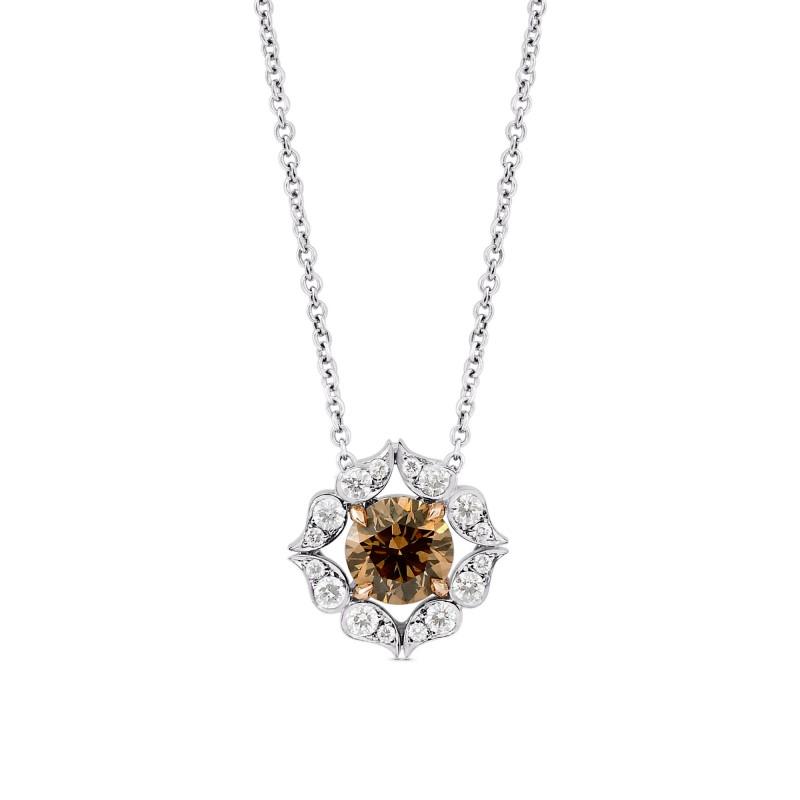 Fancy Brown Diamond Floral Halo Pendant, SKU 103541 (1.33Ct TW)