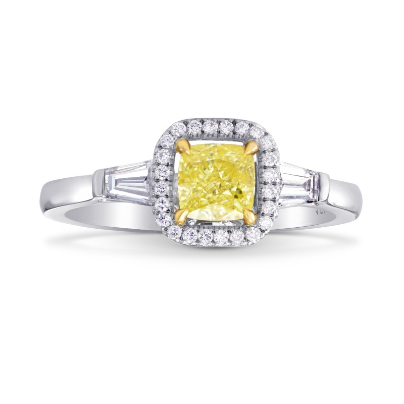 Fancy Intense Yellow Cushion and Taper Diamond Ring, SKU 111697 (0.93Ct TW)