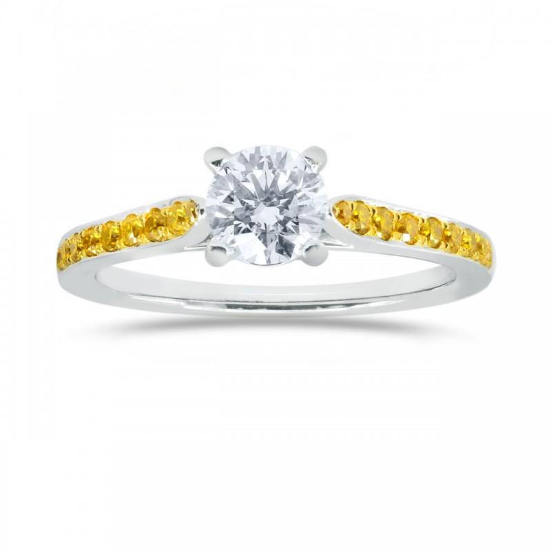 White F colored Brilliant Cut Diamond  Side Stone Ring, SKU 119989 (0.77Ct TW)