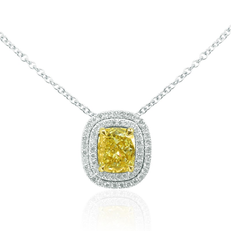 Our favorite recently sold items july leibish fancy yellow diamond double halo pendant mozeypictures Images