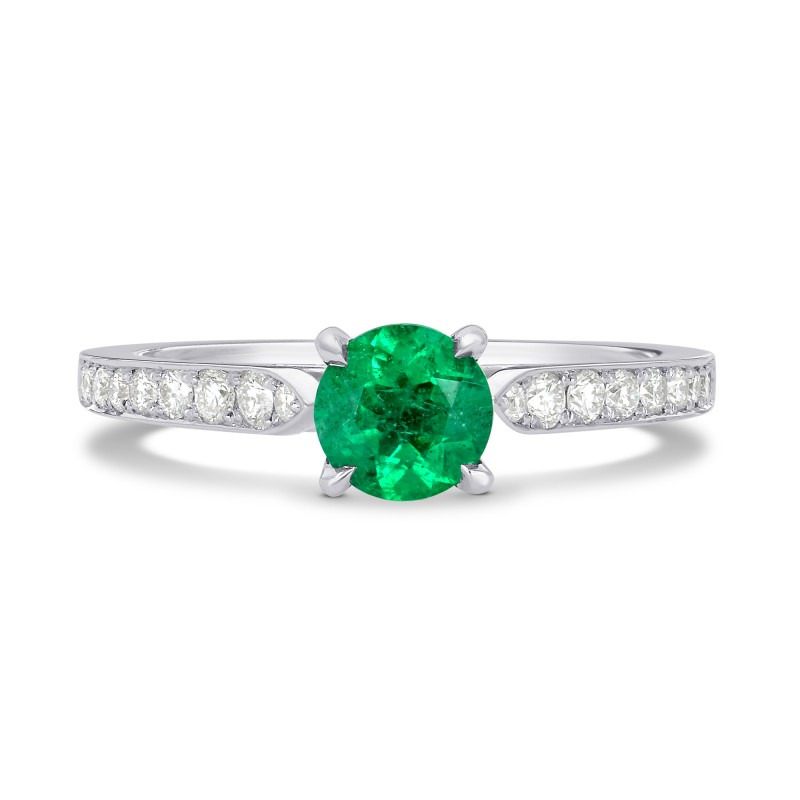 Round Emerald Gem And Diamond Ring Sku 126359 0 72ct Tw