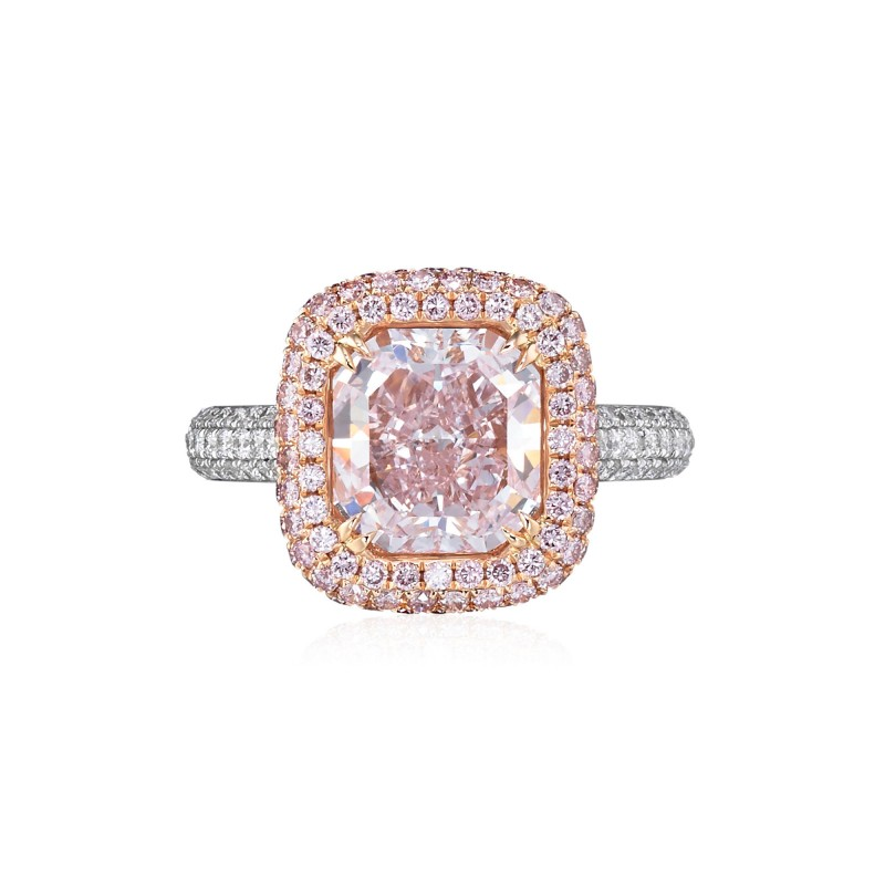 Fancy Purplish Pink Diamond, Radiant Halo Ring, SKU 136631 (4.09Ct TW)