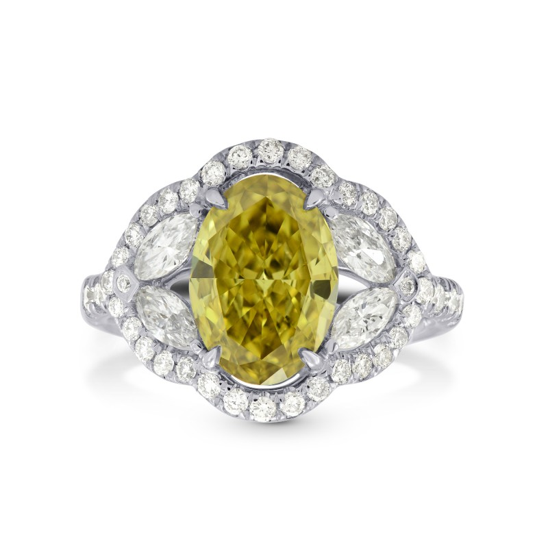 Fancy Dark Brownish Greenish Yellow Diamond Halo Ring, SKU 137414 (2.81Ct TW)