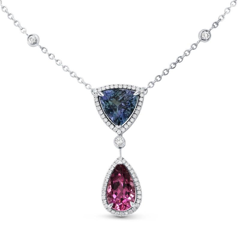 Tanzanite Triangle & Pink Tourmaline Pear Diamond Pendant, SKU 144296 (0.43Ct TW)