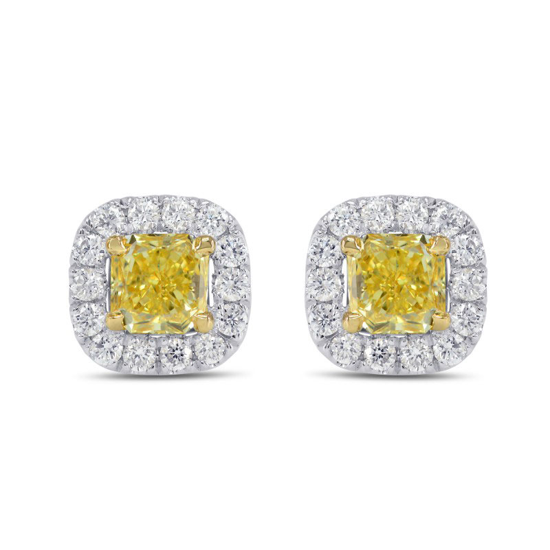 Fancy Intense Yellow Cushion Diamond Halo Earrings, SKU 150292 (0.90Ct TW)
