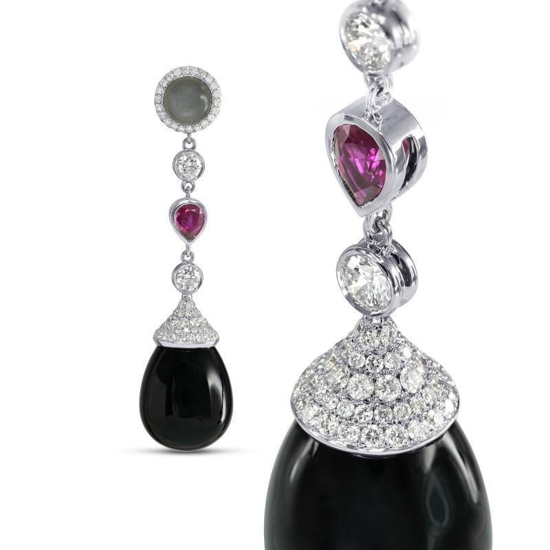 Onyx Ruby Moonstone Diamond Drop Earrings, SKU 151545 (46.83Ct TW)