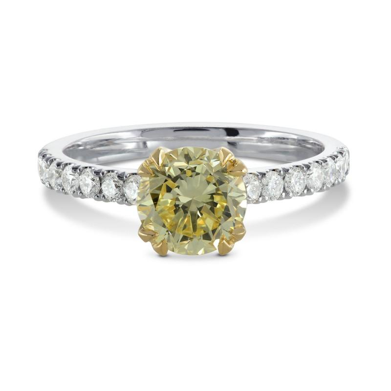 Fancy Yellow Round Brilliant Diamond Ring, SKU 155255 (1.29Ct TW)