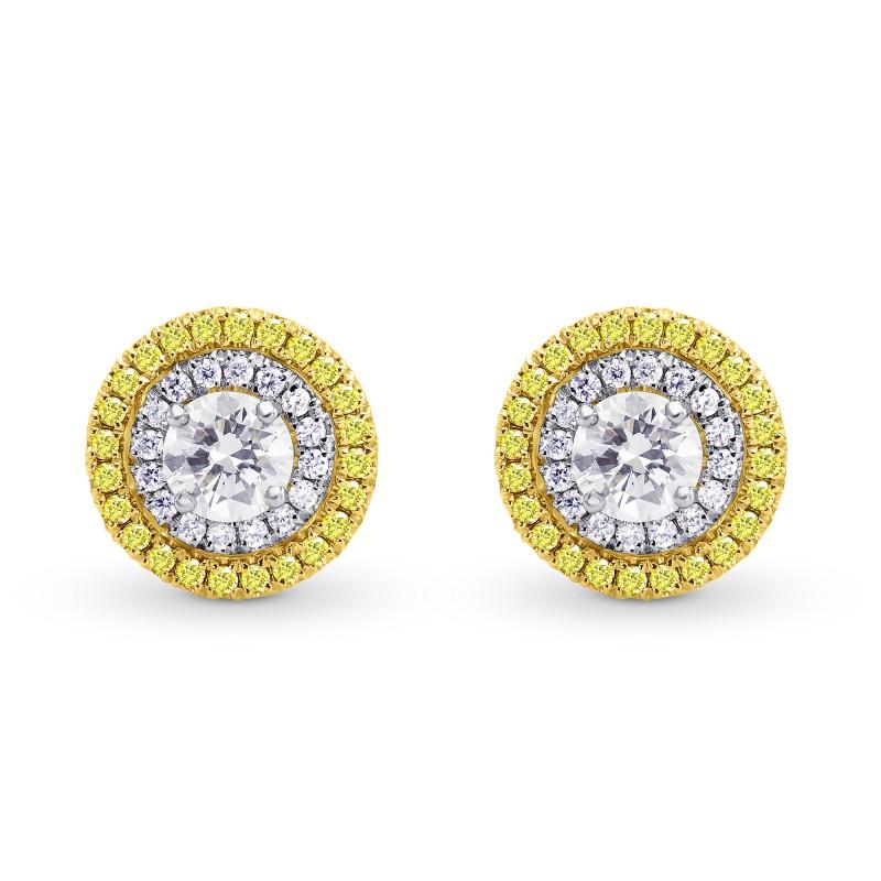 White and Fancy Intense Yellow Diamond Double Halo Earrings, ARTIKELNUMMER 156502 (1,09 Karat TW)