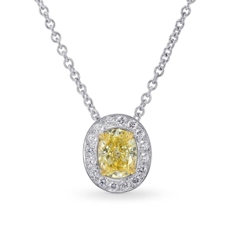 Fancy Yellow Oval Diamond Halo Pendant, SKU 158892 (0.72Ct TW)