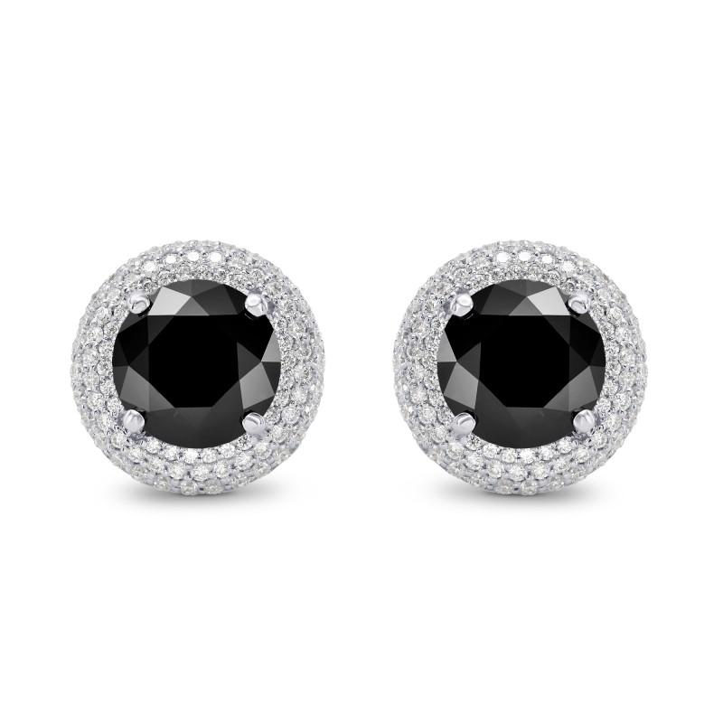 Natural Unheated Round Fancy Black Diamond Earrings, SKU 159773 (4.85Ct TW)