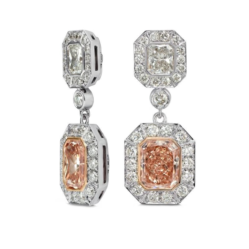 Fancy Pink Brown Radiant Diamond Earrings, SKU 162847 (3.53Ct TW)
