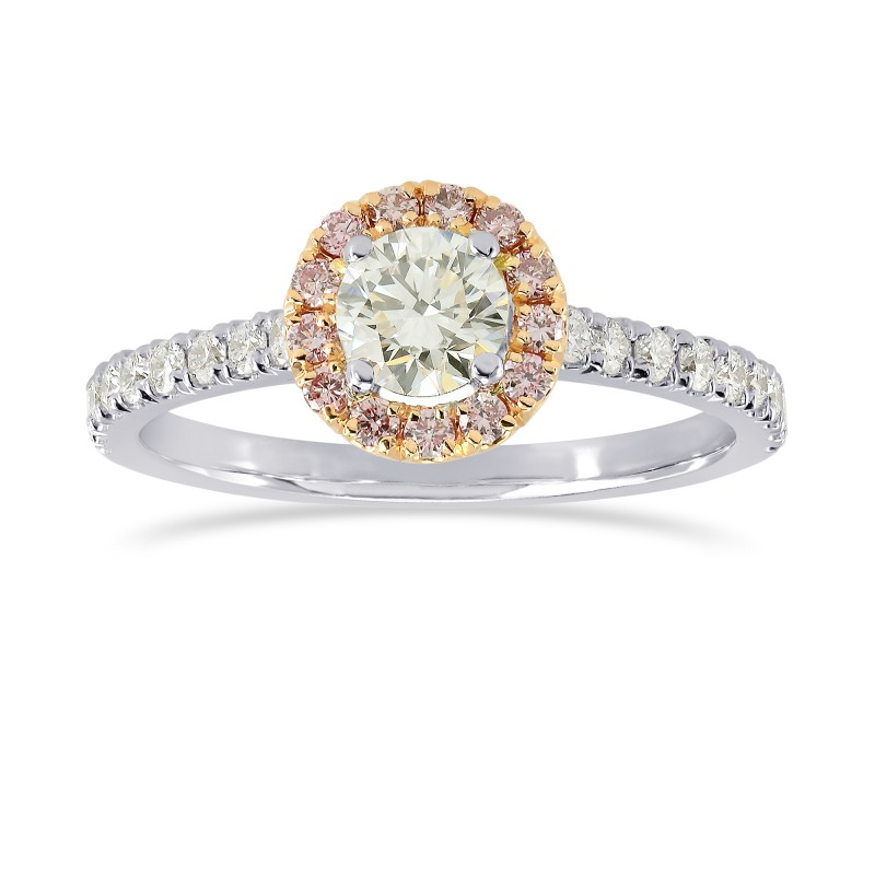 White and Fancy Pink Diamond Halo Ring, SKU 164322 (0.61Ct TW)