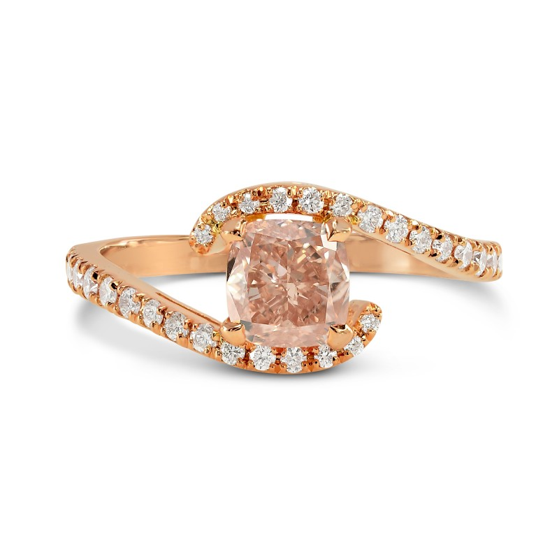 Fancy Brownish Orangy Pink Cushion Diamond Cross-Over Ring, SKU 169759 (0.90Ct TW)