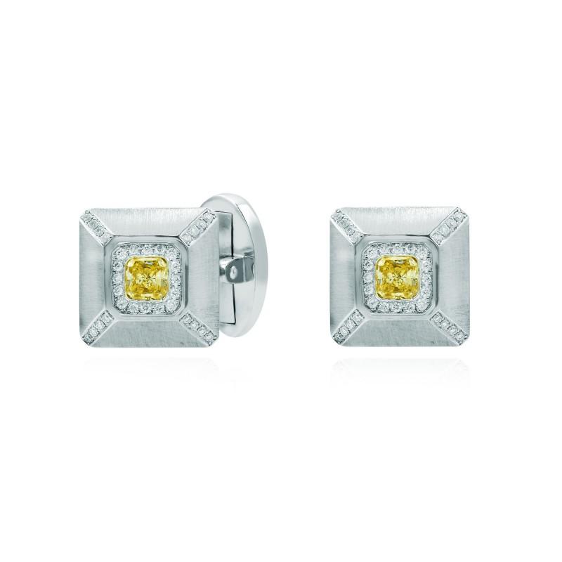 Fancy Yellow Radiant Diamond Cufflinks, SKU 17327 (0.70Ct TW)