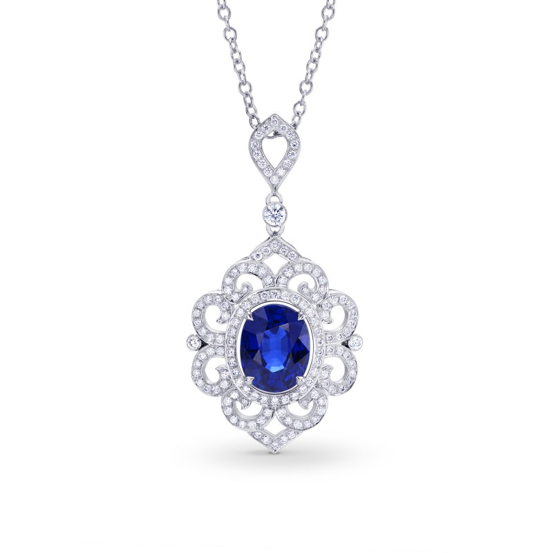 Natural unheated oval sapphire diamond pendant sku 175661 377ct tw mozeypictures Choice Image