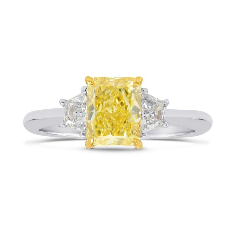 Fancy Intense Yellow  Radiant Diamond 3 Stone Ring, SKU 184629 (1.67Ct TW)